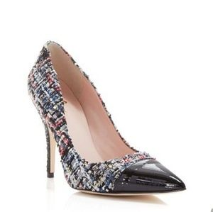 Lacy tweed kate spade high heel pumps.